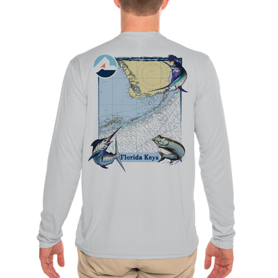 Fish Charts Florida Keys Men's UPF 50+ Long Sleeve T-Shirt