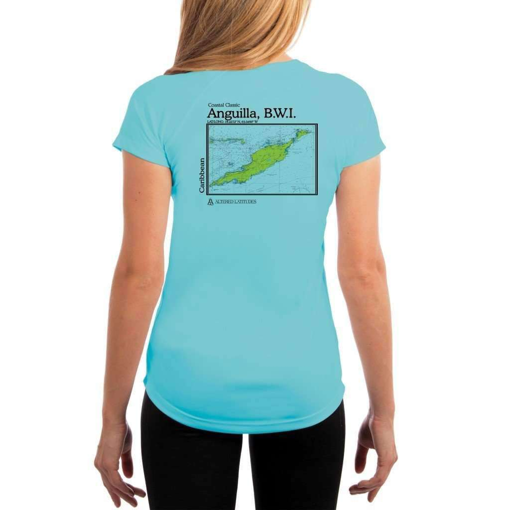 Coastal Classics Anguilla B.w.i. Womens Upf 50+ Uv/sun Protection Performance T-Shirt Water Blue / X-Small Shirt