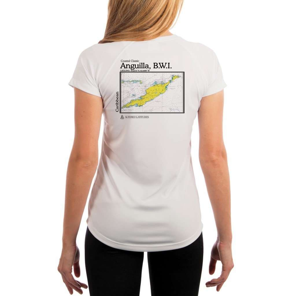 Coastal Classics Anguilla B.w.i. Womens Upf 50+ Uv/sun Protection Performance T-Shirt White / X-Small Shirt