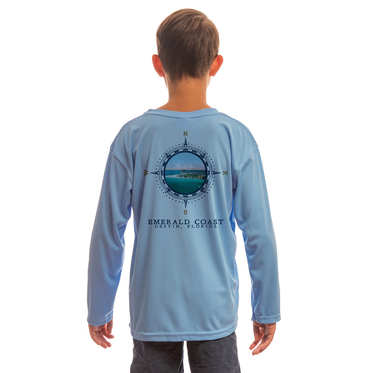 Compass Vintage Emerald Coast Youth UPF 50+ UV/Sun Protection Long Sleeve T-Shirt