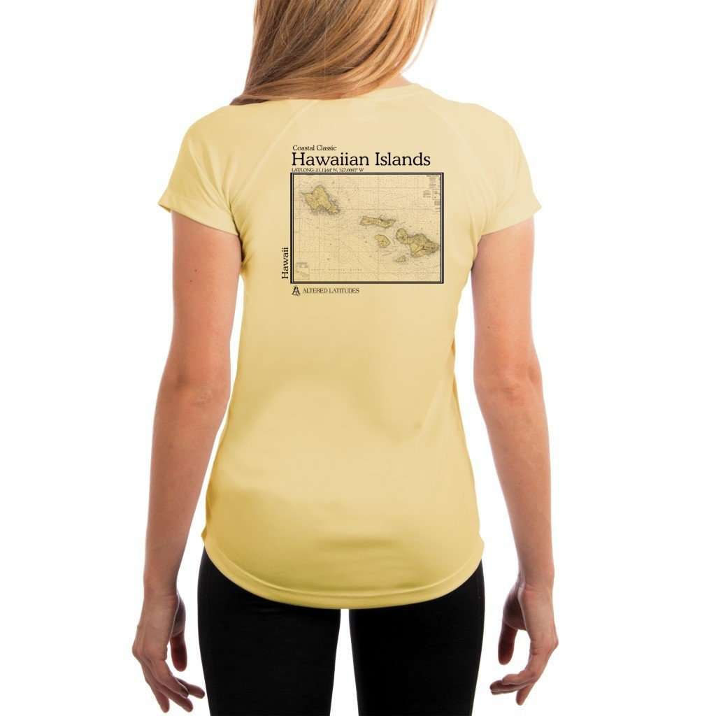Coastal Classics Hawaiian Islands Womens Upf 50+ Uv/sun Protection Performance T-Shirt Pale Yellow / X-Small Shirt