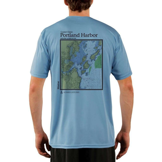 Coastal Classics Portland Harbor Mens Upf 5+ Uv/sun Protection Performance T-Shirt Columbia Blue / X-Small Shirt