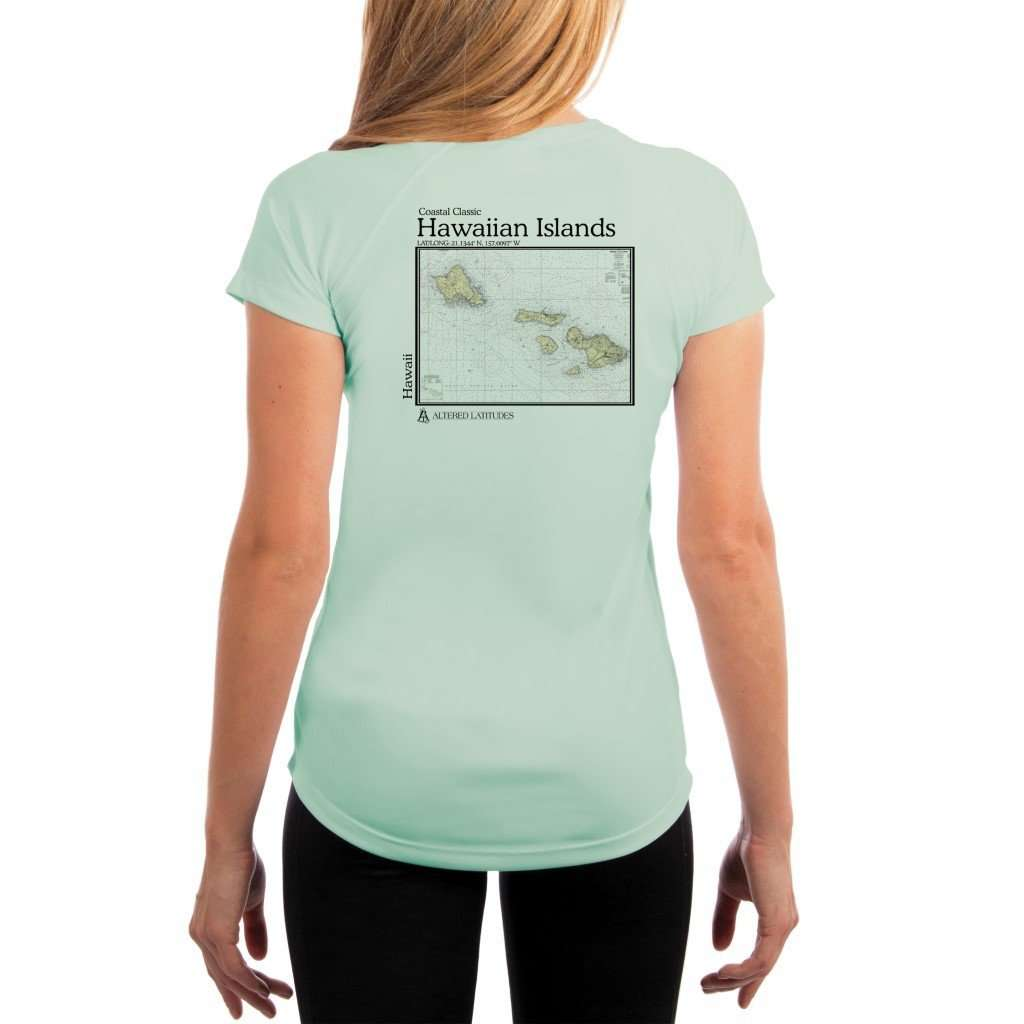 Coastal Classics Hawaiian Islands Womens Upf 50+ Uv/sun Protection Performance T-Shirt Seagrass / X-Small Shirt
