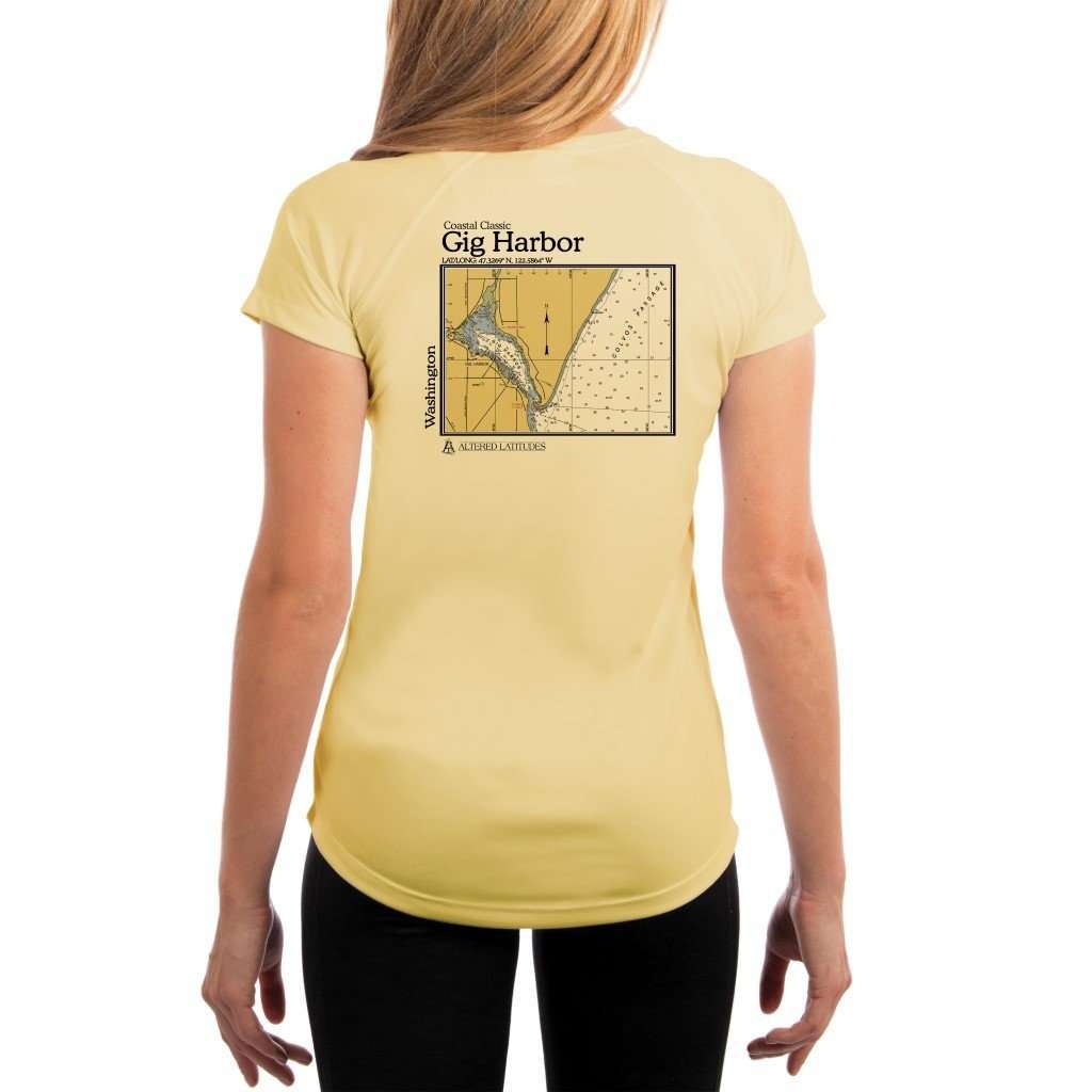 Coastal Classics Gig Harbor Womens Upf 50+ Uv/sun Protection Performance T-Shirt Pale Yellow / X-Small Shirt
