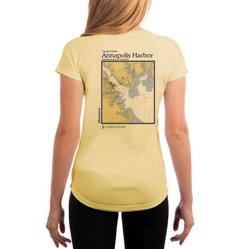 Coastal Classics Annapolis Harbor Womens Upf 50+ Uv/sun Protection Performance T-Shirt Pale Yellow / X-Small Shirt