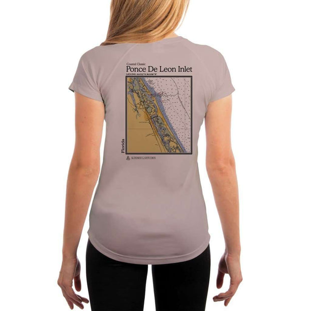 Coastal Classics Ponce De Leon Inlet Womens Upf 5+ Uv/sun Protection Performance T-Shirt Athletic Grey / X-Small Shirt
