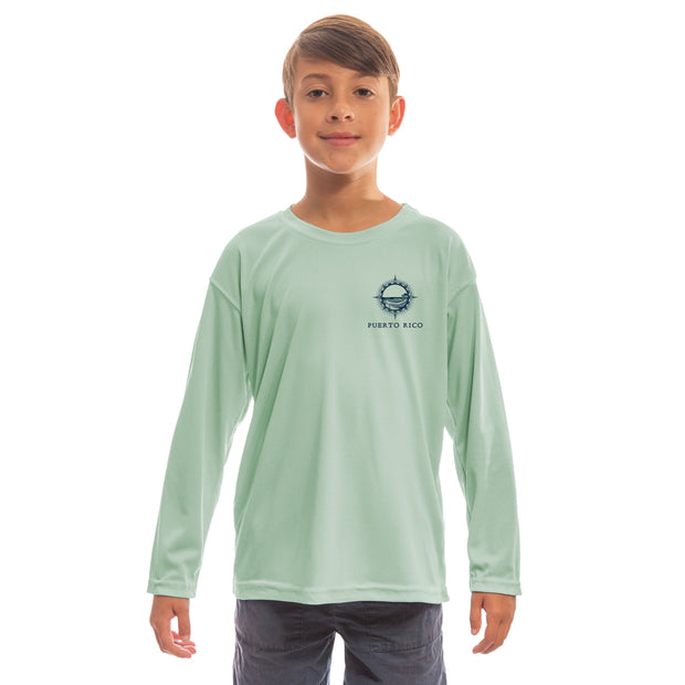 Compass Vintage Puerto Rico Youth UPF 50+ UV/Sun Protection Long Sleeve T-Shirt