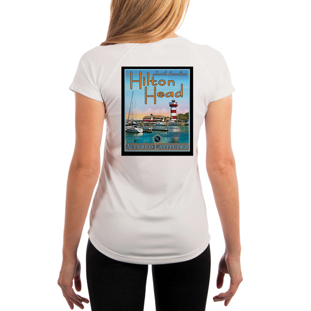 Vintage Destination Hilton Head Women's UPF 5+ UV Sun Protection Short Sleeve T-shirt - Altered Latitudes