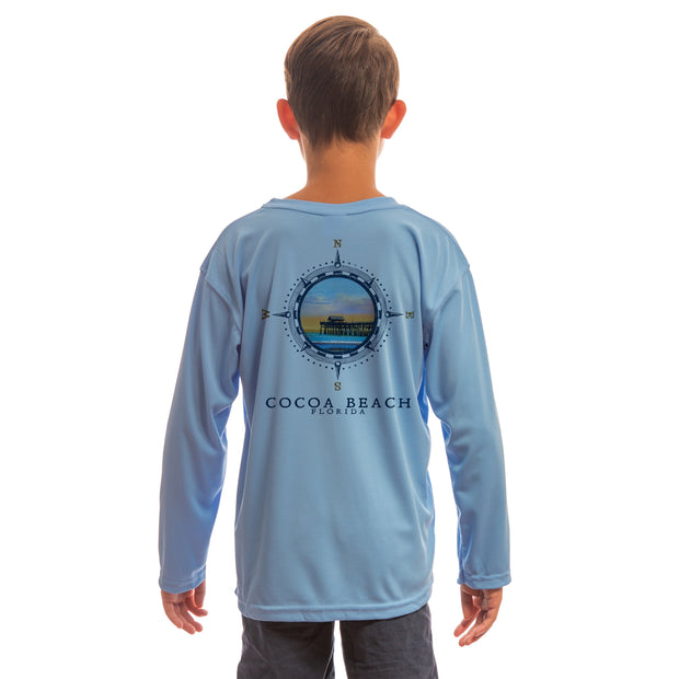 Compass Vintage Cocoa Beach Youth UPF 50+ UV/Sun Protection Long Sleeve T-Shirt
