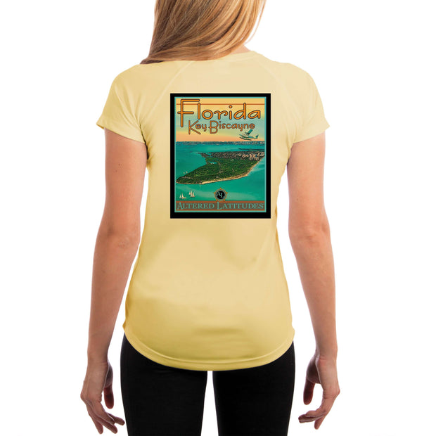Vintage Destination Key Biscayne Women's UPF 5+ UV Sun Protection Short Sleeve T-shirt - Altered Latitudes