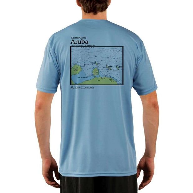 Coastal Classics Aruba Mens Upf 5+ Uv/sun Protection Performance T-Shirt Columbia Blue / X-Small Shirt