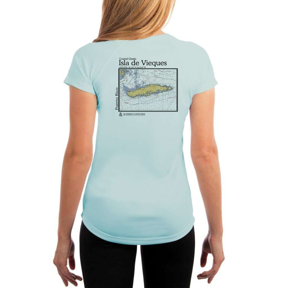 Coastal Classics Isla De Vieques Womens Upf 5+ Uv/sun Protection Performance T-Shirt Arctic Blue / X-Small Shirt