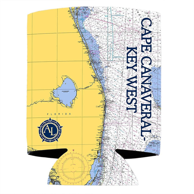 Altered Latitudes Capre Canaveral to Key West Chart Standard Can Cooler (4-Pack)