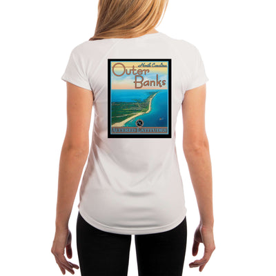 Vintage Destination Outer Banks Women's UPF 5+ UV Sun Protection Short Sleeve T-shirt - Altered Latitudes