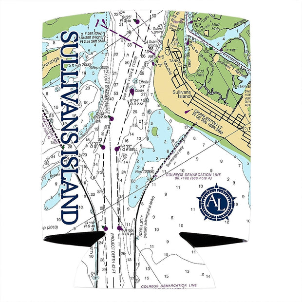 Altered Latitudes Sullivan's Island Chart Standard Can Cooler (4-Pack)