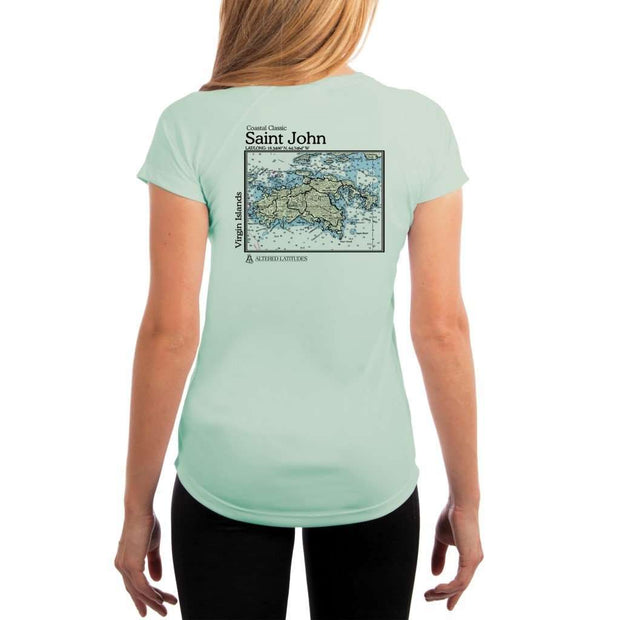 Coastal Classics Saint John Womens Upf 5+ Uv/sun Protection Performance T-Shirt Seagrass / X-Small Shirt