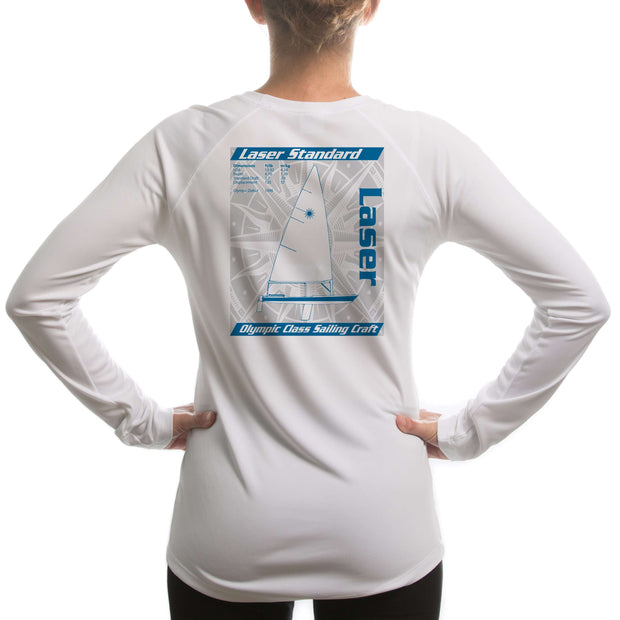 Laser Olympic Class Sailboat Blue Women's UPF 50+ Long Sleeve T-shirt