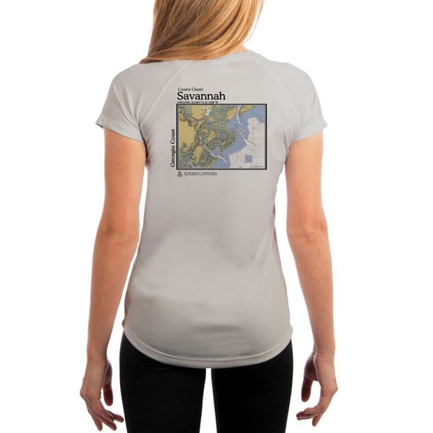 Coastal Classics Savannah Georgia Coast Womens Upf 5+ Uv/sun Protection Performance T-Shirt Pearl Grey / X-Small Shirt