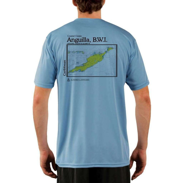 Coastal Classics Anguilla B.w.i. Mens Upf 5+ Uv/sun Protection Performance T-Shirt Columbia Blue / X-Small Shirt