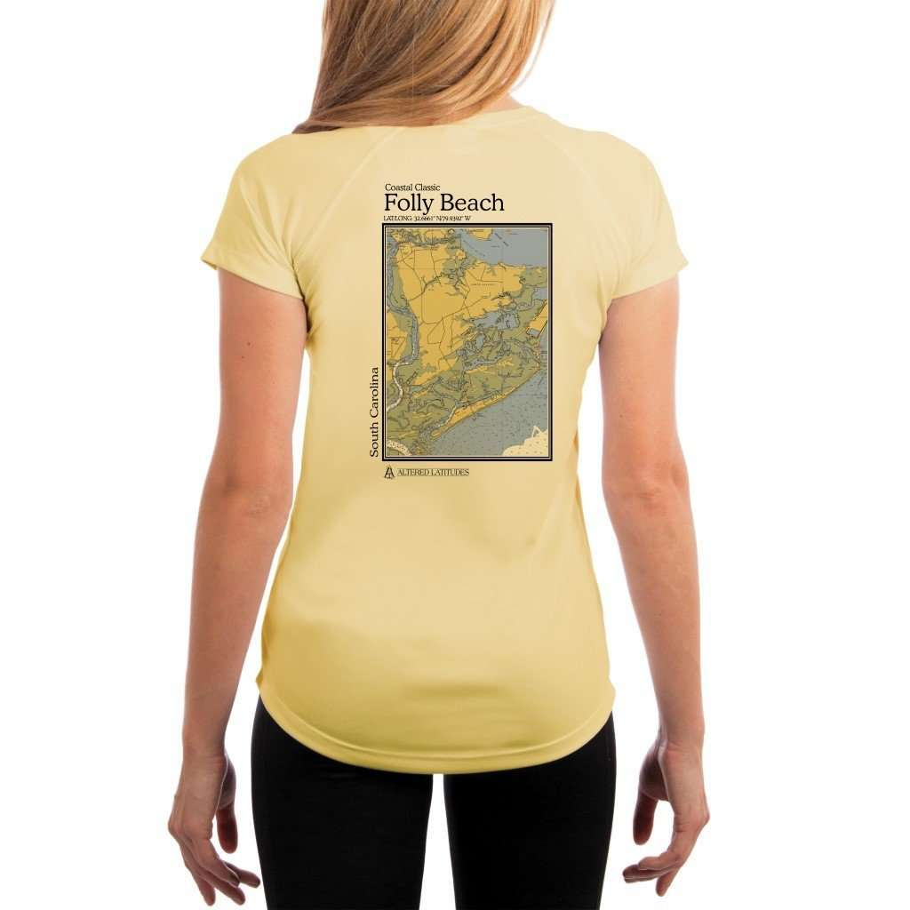Coastal Classics Folly Beach Womens Upf 50+ Uv/sun Protection Performance T-Shirt Pale Yellow / X-Small Shirt