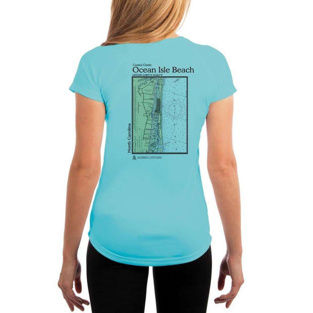 Coastal Classics Ocean Isle Beach Womens Upf 5+ Uv/sun Protection Performance T-Shirt Water Blue / X-Small Shirt