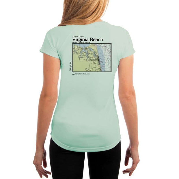 Coastal Classics Virginia Beach Womens Upf 5+ Uv/sun Protection Performance T-Shirt Seagrass / X-Small Shirt