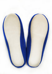Slippers with Fox Fur Pom-Pom for Home Wear in Blue 100% Cashmere