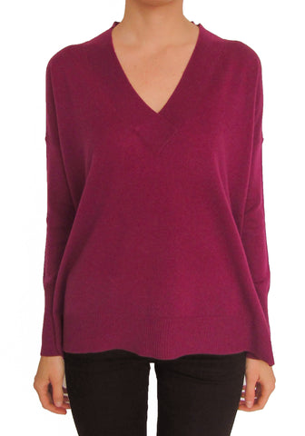 Boyfriend Sweater Purple Potion with long V-Neck 100% Cashmere