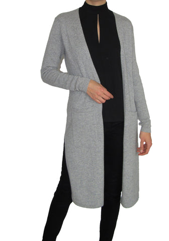 Long Cardigan Melange Grey 100% Cashmere