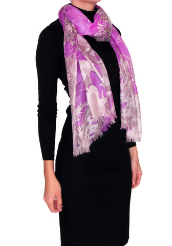 100% Cashmere Scarf for Women Veil Collection Purple Frost