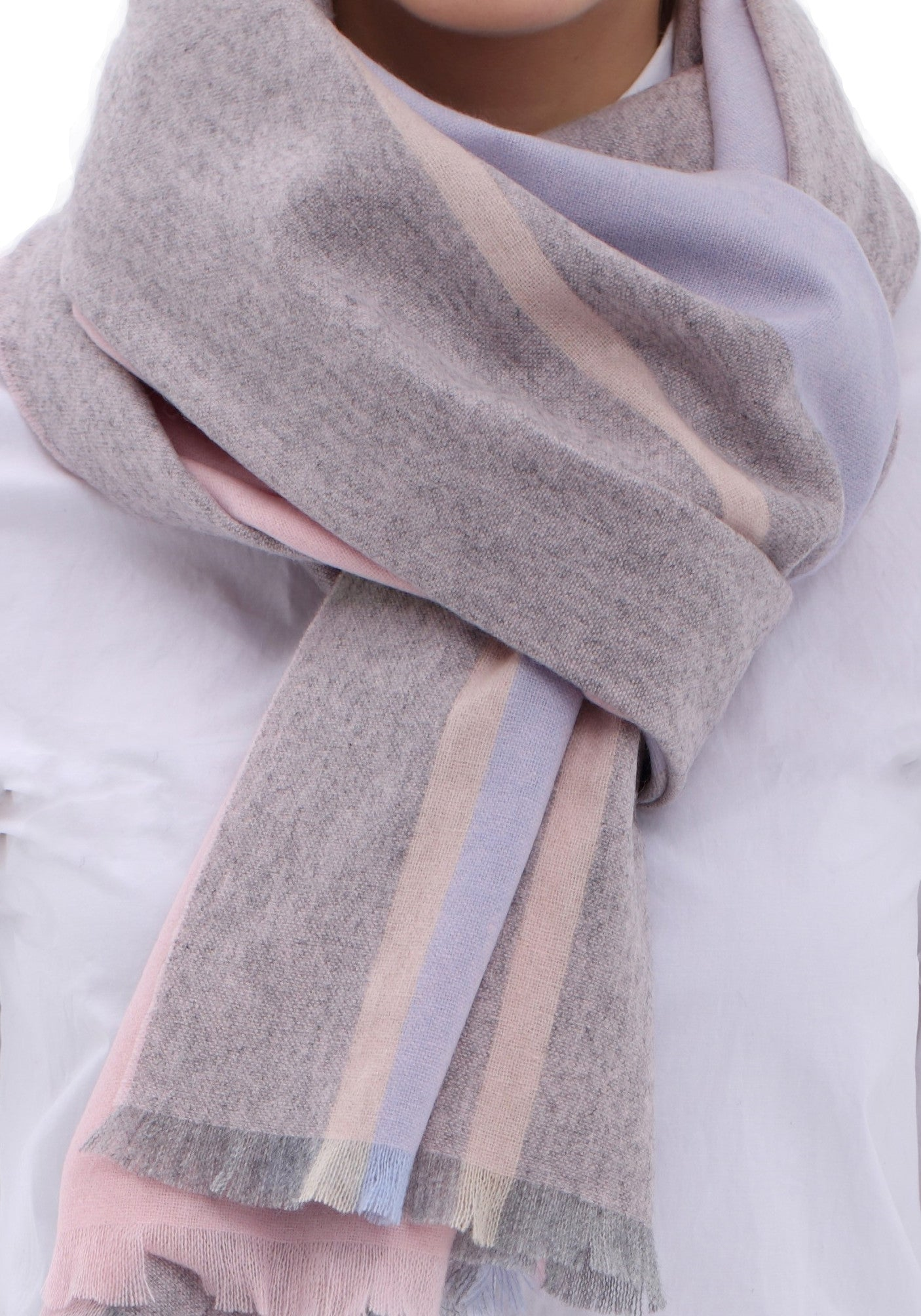 100% Cashmere Scarf for Women Winter Collection Pink & Grey