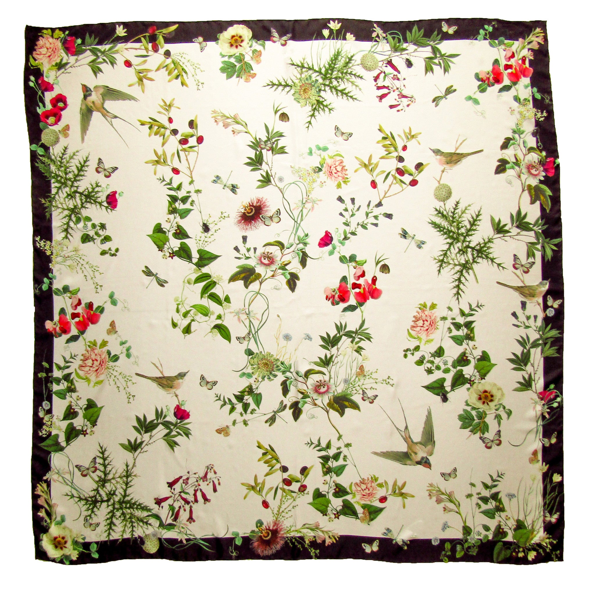CashmereHome Silk Square Scarf Floral Berries