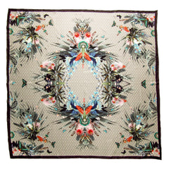 CashmereHome Silk Square Scarf Floral Butterfly