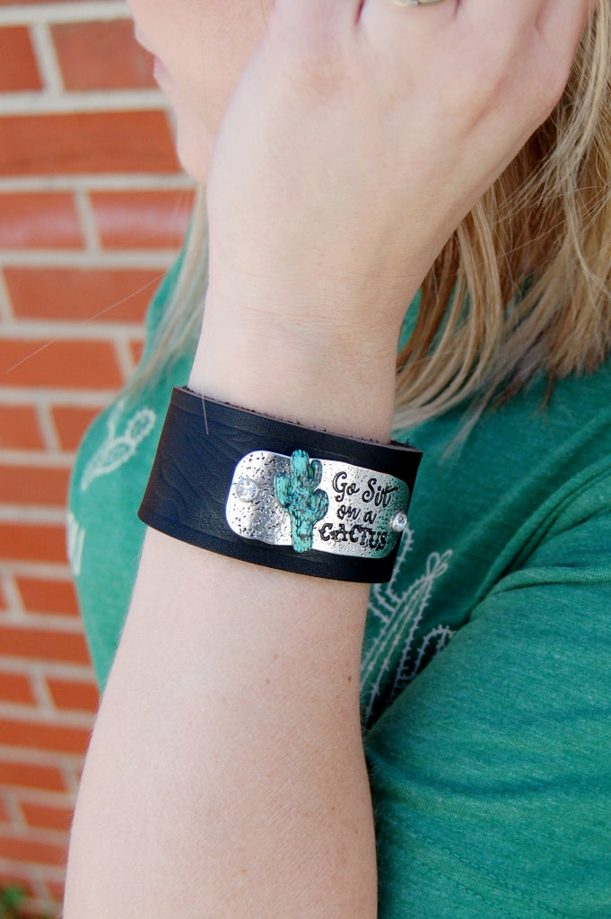 Go Sit on a Cactus Leather Cuff - Kade & Cate
