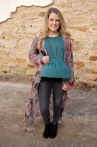 Open front, burnout velvet duster kimono. Bohemian velvet duster.  Boho over coat.