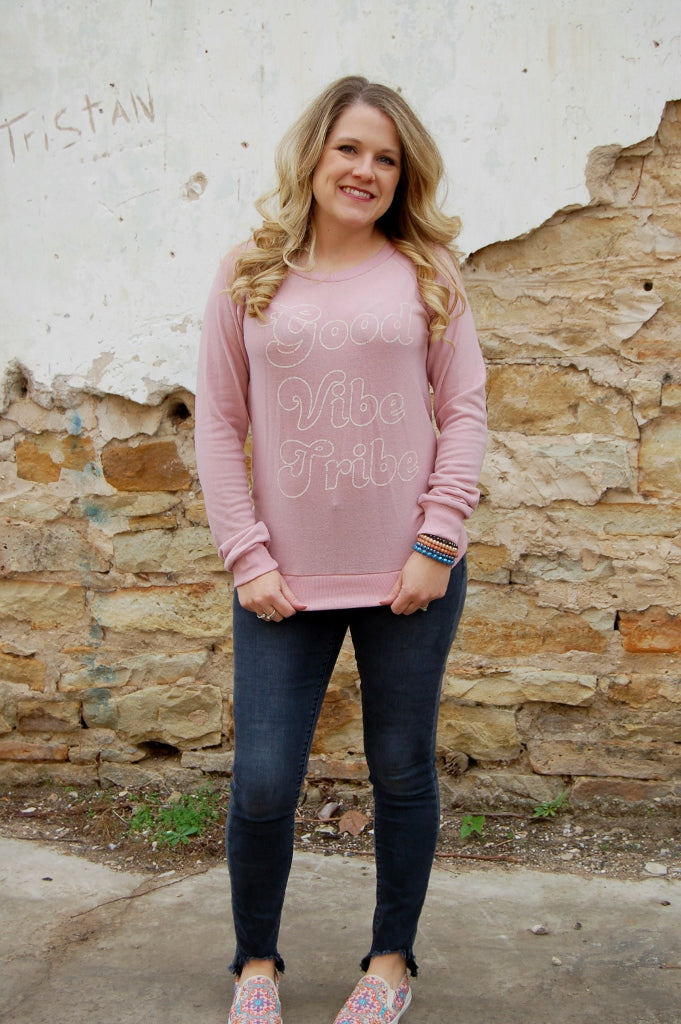 Vintage Havana Good Vibe Tribe pull over sweatshirt.  Vintage style sweatshirt.  Bohemian good vibe top.