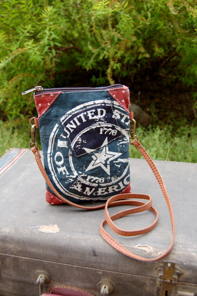 United states 1776 united bag by mona b. americana bohemian upcycled vintage small crossbody