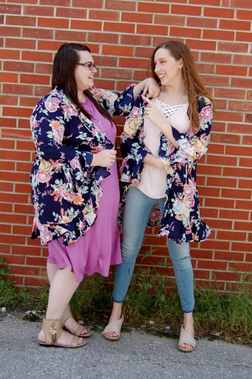 Lightweight floral kimono with ruffle hem and sleeve.  Plus size floral kimono.  Swim suit cover up.  Versatile bohemian summer kimono.