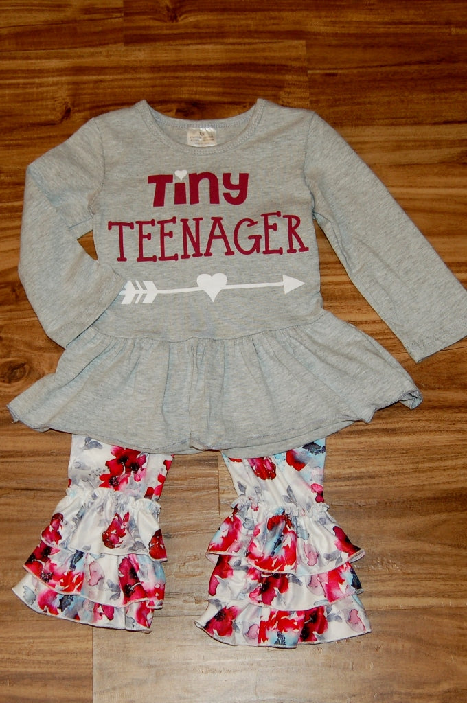 Tiny Teenager 2 pieces childrens boutique outfit.  Kids fashion.