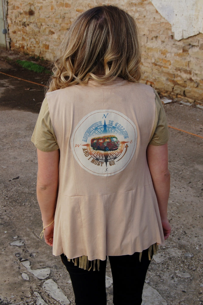 Boho Jane suede vest with vw bus and compass directions on back.  Bohemian style open front suede vest.