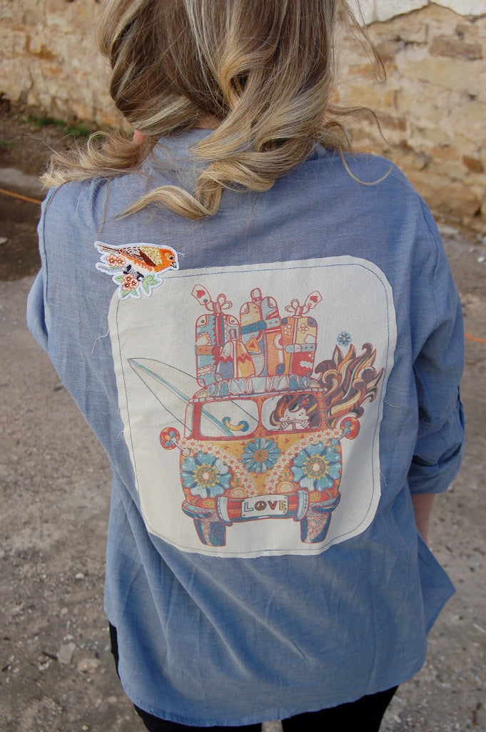 Hippie Love Bus Button Up - Kade & Cate