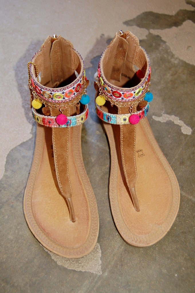 100% authentic leather sandals by Vintage Havana.  Gypsy, Boho, Hippie style sandals with thong and pom poms.