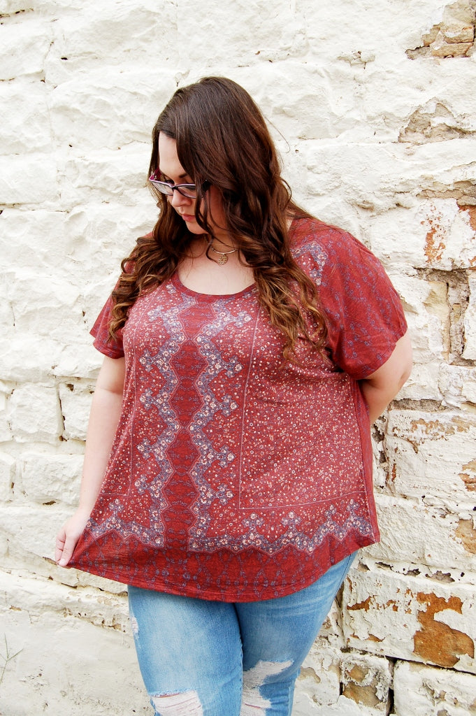 Boho Floral Scoop Neck Tee - Kade & Cate