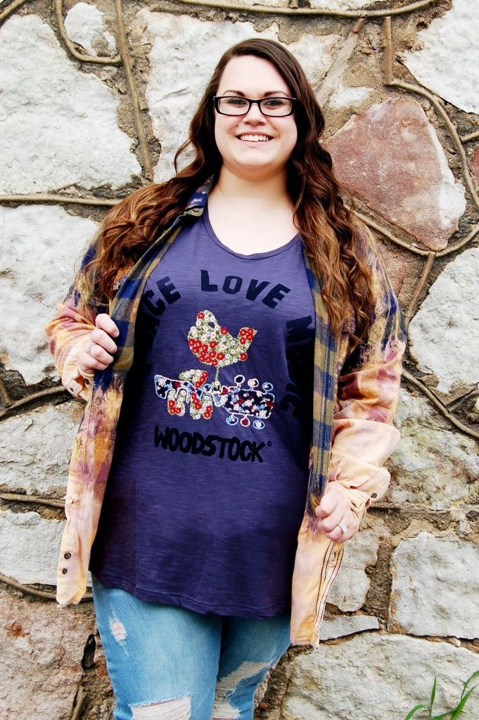Plus size Lucky Brand Woodstock tee.  Peace Love Music embroidered woodstock tee.