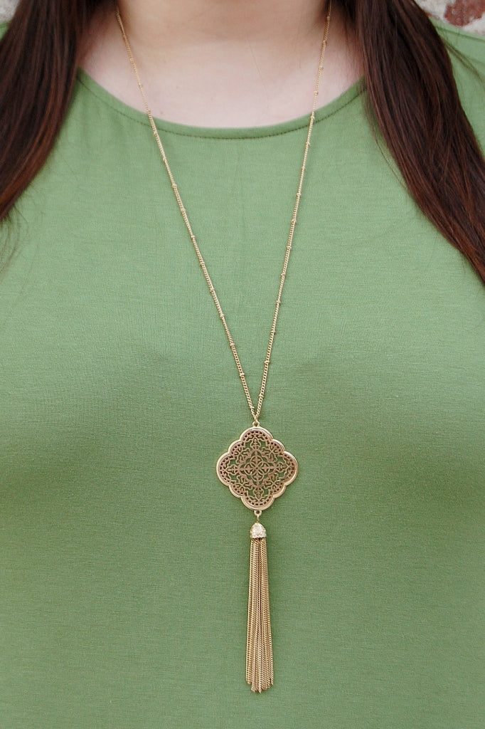 Gold Toned Filigree Necklace - Kade & Cate