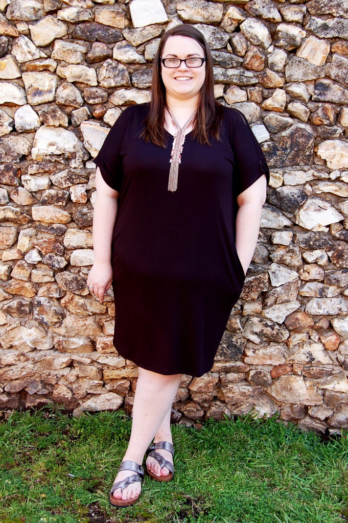 Solid black plus size dress with pockets.  Soft solid basic dress.  Curvy collection dress.  Little black dress.