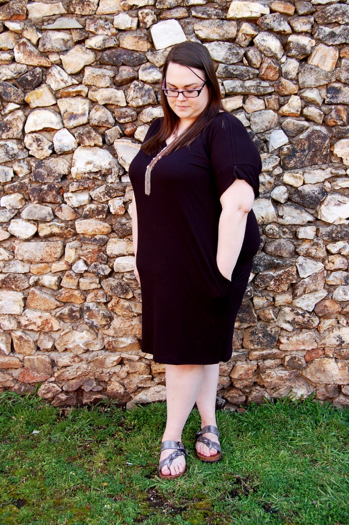Rolled Sleeve V-Neck Dress {Black}