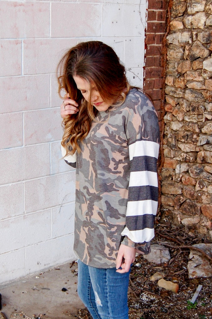 Camo Knit Top with Stripe Balloon Sleeves - Kade & Cate