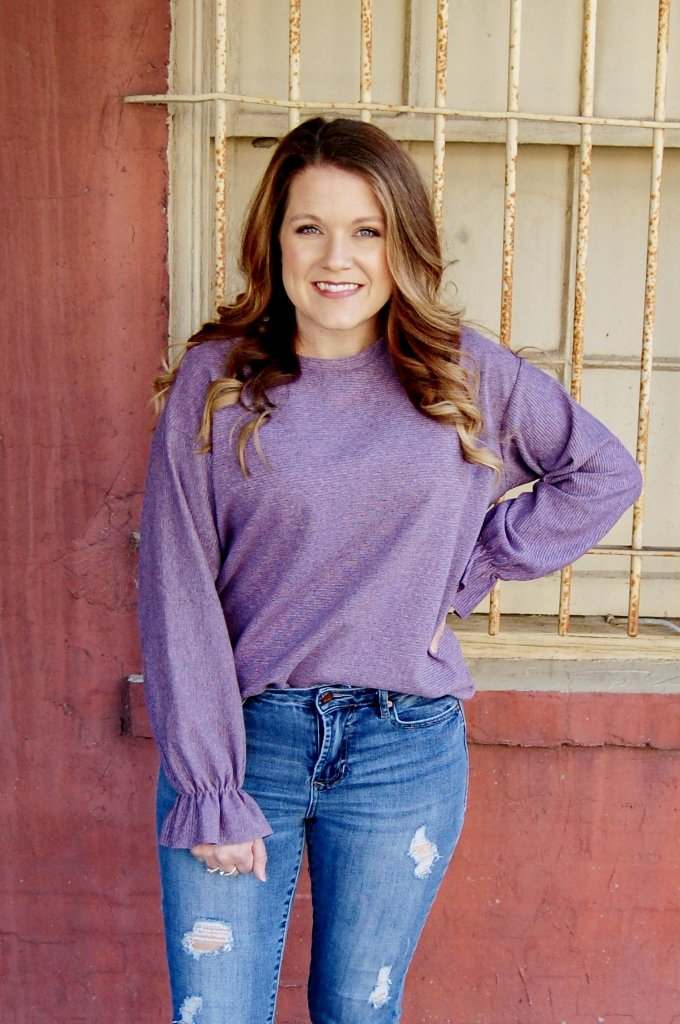 Purple Haze Knit Top With Bell Sleeve - Kade & Cate