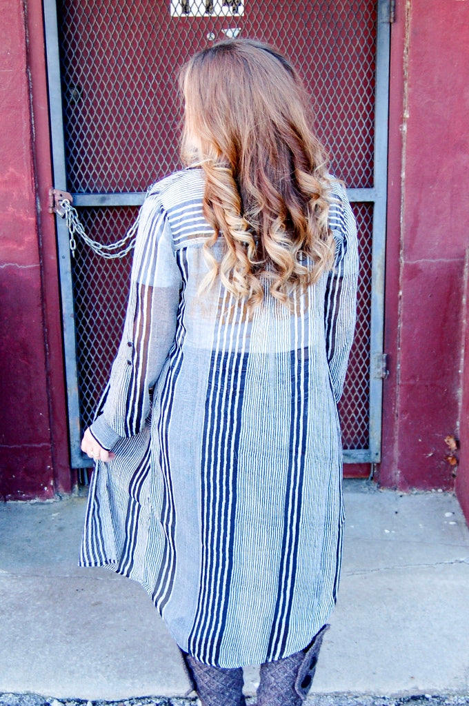 Striped Button Up Shirt Dress/ Kimono - Kade & Cate